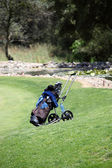 Golf bag and clubs on a golf course — Stock Photo