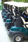 High quality modern golf carts aligned — Foto de Stock