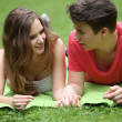 Assectionate teenage couple on a date — Stock Photo
