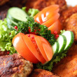 Crumbed fried meat and fish on a buffet — Stock Photo #30425993