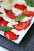 Tomatoes and mozzarella — Stock Photo