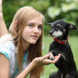 Loving little dog and owner — Foto Stock