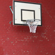 Basket hoop fixed on a red brick wall — Stock Photo