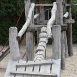 Rustic wooden playground equipment — Stock Photo