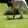 Stock Photo: Golfer placing his ball on tee