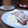 Waffle with whipped cream — Stock Photo #32464945