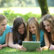 Group of young female students — Stock Photo