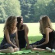 Three teenage girls enjoy a day at the park — Stok fotoğraf
