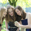 Stock Photo: Three happy teenagers reading an sms on a mobile phone as they sit grouped together on a rug on the grass in a park while relaxing on their summer vacation