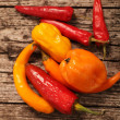 Stock Photo: Variety of fresh peppers or capsicum