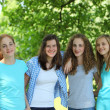 Group of happy young teenage girls — Stockfoto