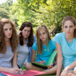 Group of sombre young teenagers — Stock Photo