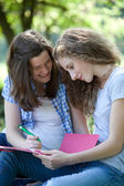 Happy college students working together — Stock Photo