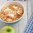Bowl of commercial breakfast cereal — Stock Photo