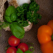 Fresh cooking ingredients and herbs — Stock Photo
