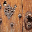 Old wooden door with lock and handle — Stock Photo
