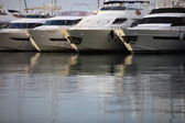 Luxury cabin cruisers at the harbour — Stock Photo
