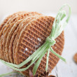 Golden waffles for dessert — Stock Photo