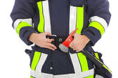 Fireman with a fire axe — Stock Photo