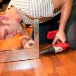 Young man doing DIY home improvements — Stock Photo