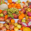 Stock Photo: Display of mixed fresh tropical fruit