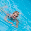 Stock Photo: Beautiful young womswimming in pool