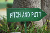 Pitch and Putt signpost — Stock Photo