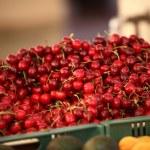 Plastic crates full of ripe red cherries — Stock Photo #42827707