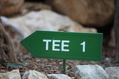 Signpost for the first tee on a golf course — Foto Stock