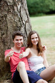 Smiling teenage couple giving a thumbs up — Stock Photo