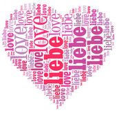 Word cloud in a heart shape filled with love — Stock Photo