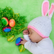 Beautiful sleeping baby in an Easter Bunny outfit — Stock Photo