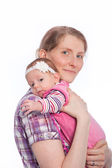 Mother Smiling Holding Baby — Stock Photo