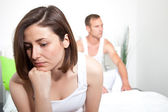 Frustrated woman experiencing intimacy problems — Stock Photo