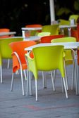 Outdoor furniture of a restaurant or a cafeteria — Stock Photo