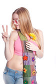 Blonde female holding up peace sign — Stock Photo