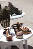 Wedge Sandals Outdoor Display — Zdjęcie stockowe