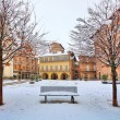 City square under snow. Alba, Italy. — Lizenzfreies Foto