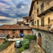Traditional courtyard. Barolo, Italy. — Stock Photo