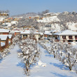 Small town under the snow. Corneliano D — Stock Photo