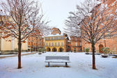 City square under snow. Alba, Italy. — Stock Photo