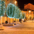 Illuminated trees. Alba, Italy. — Stock Photo