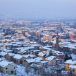 Aerial view on snowy town. Alba, Italy. — Stock Photo