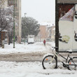 Snowfall in the city. Alba, Italy. - Stok fotoraf