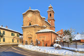 Old church on the road. Piedmont, Italy. — Stock Photo