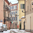 Stock Photo: Italian town under the snow. Alba, Italy.