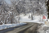 Road through snowy forest. Piedmont, Italy. — Stock Photo