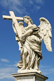 Sculpture of angel with cross. Rome, Italy. — Stock Photo