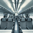 Stock Photo: Modern train coach interior view.