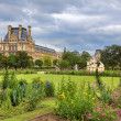 Tuileries Garden and Louvre museum. Paris, France. — Stock Photo